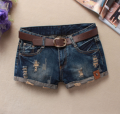 2019 New arrival Women Fashion Jeans shorts Hole Jeans Skull patch dark blue S