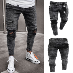 Hot sell Fashion Men's Holes Jeans pencil pants Trousers black xxl