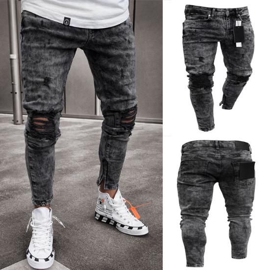 Hot sell Fashion Men's Holes Jeans pencil pants Trousers black xl
