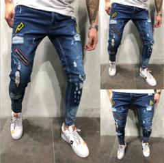 New arrival Fashion Men's Jeans Elastic holes embroidered Pencil pants Trousers blue xxxl