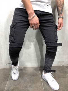 Hot sell Men's Fashion Casual Middle waist Slim Pencil pants with pocket Jeans Trousers black 38-XXXL