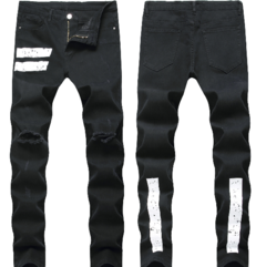 2019 New Fashion Slim Elastic Black and White Men's Jeans Trouser with Holes black 28