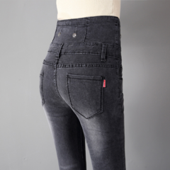 New Spring-Summer Fashion Close-fitting High Waist Trousers with The double-breasted Pencil pants gray 26