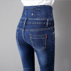 New Spring-Summer Fashion Close-fitting High Waist Trousers with The double-breasted Pencil pants dark blue 28