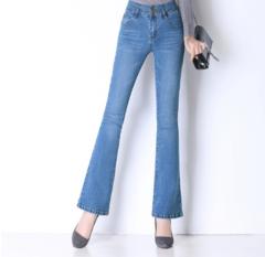 2019 NEW!!! Fashion Women's Jeans Pants Slim Elastic Flared Trousers light blue 26