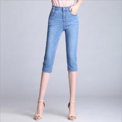 2019 NEW!!! Fashion Women Jeans Pants High Waist Elastic Middle Trousers&Leggings light blue 26