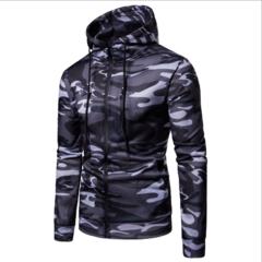 New arrival Fashion Slim Camouflage Men's Hoodies Cardigans Sweatshirts dark gray m