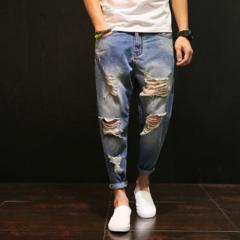2019 New arrival Fashion Men's Jeans Holes Harem Pants Trousers blue s