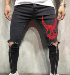 2019 New arrival Fashion Big Size Men's Jeans Pants Printing Skull Zipper Litter Feet Trousers Skull black s