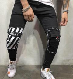 2019 New arrival Fashion Big Size Men's Jeans Pants Printing Skull Zipper Litter Feet Trousers ASRV black xl