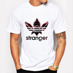 FE Ins Popular Men's T-shirts Short-sleeve Printed STRANGER THINGS T-shirts 1 s cotton
