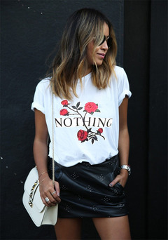 FE Nothing Letter Print T Shirt Rose T-Shirt Women Summer Casual Short Sleeve TShirt Punk Shirts white s