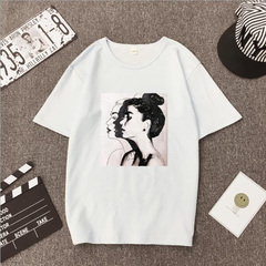 FE New Fashion T shirt Woman Spring Summer Print Short Sleeve Cotton Spandex Women Top Slim Fit white s
