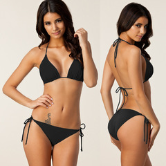 Womens Multiple Colors Sexy Lingerie Swimwear Bikini Set Solid Beach Bathing Bikini Swimsuit FE10 Black S