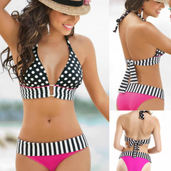 Summer Fashionable Printed Wave Point Sexy Bikini Women's Split Swimsuit Beach bathing FE13 as picture s