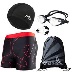 6Pcs per set Men Swimwear/Swimming Glasses/Swim Caps/Bag/Ear Plug/Nose Pad Diving Swimsuit Set FE16 random L(50Kg-60Kg)