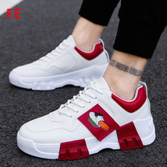 Men's Shoes Student Travel Sports Shoes Clunky Sneaker Man Running Shoes Casual Trainer white and red 42