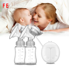 FE Double Electric Breast Pumps Powerful Nipple Suction USB Electric Breast Pump Baby Milk Bottle white as picture