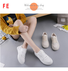 FE Versatile Flat Student Lightweight Casual Shoes Strap with Smooth Solid Color Sports Sneaker white 35