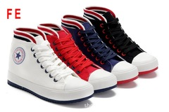 FE Korean Casual Sneaker Color Strips High Canvas Shoes Thin Bottom Sports Shoes Solid Color Shoes white 35