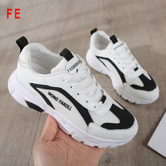 FE Summer Color Matching Shoes Fashion Belt with High Shoes Students Lightweight Sports Clunky Shoes black 35
