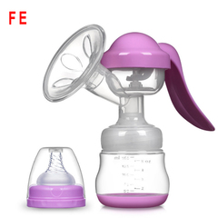 [Gift for Mother] Manual Breast Pump Baby Nipple Suction Feeding Milk Bottles Breasts Pumps Bottle purple as picture