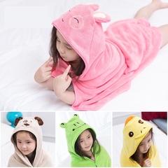FE Cotton Rabbit Cartoon Children Bath Towel Cloak Baby Towel Baby Cloak pink as picture