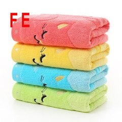 FE  4PCs 4 Color  Small Towel Bamboo Fiber Music Cat Soft Towel Children's Jacquard Embroidered 4PCs 25CM*50CM