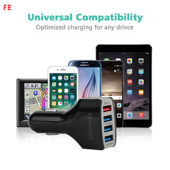FE QC 3.0 Fast Car Charger Mobile Phone Charger 4 Port USB For iPhone Samsung Tablet Car-Charger white as picture