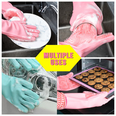 FE Silicone Dish Washing Gloves Kitchen Dishwashing Glove Household Tools for Cleaning Car Pet Brush green as picture