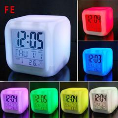 FE LED Alarm Clock 7 Colors Changing Digital Desk Gadget Digital Alarm Night Glowing Cube Kids Gift