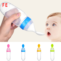 Silicone Baby Feeding Bottle With Spoon Newborn Infant Squeeze Spoon Toddler Food Milk Feeder yellow as picture