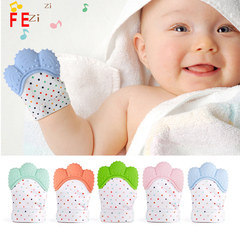 Baby Silicone Mitts Teething Mitten Glove Teether Nursing Mittens Teether Natural stop Sucking Thumb pink-blue-green-3pcs as picture