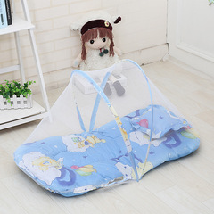 Baby mosquito net free installation with sleeping pad pillow baby child holding mosquito net large blue 92*48*40cm