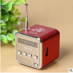 Mini Speaker MP3 Music Player with LCD FM Radio Micro TF SD Stereo Speaker for Laptop Phones Rose Red