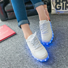 Colorful Luminous Shoes Women's Shoes Lighting Shoes Lovers USB Charging Sneakers white 35