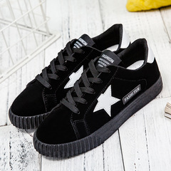 Plus Size Womens Shoes Spring Casual Shoes Breathable Canvas Sneaker with A Nice Star black 35