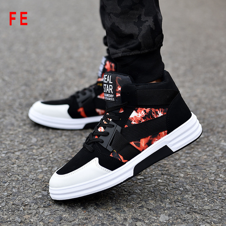 Mens Shoes Camouflage High-top Lace-up Shoes Man Sneaker Male Shoes Students Street Dance Shoes black-red 42