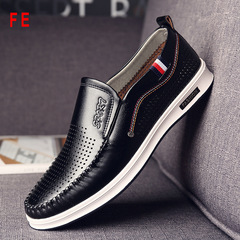 Mens Shoes Hole Shoes Male Fashion Flat Man Breathable Shoes Business Shoes Office Shoes black 39 genuine leather