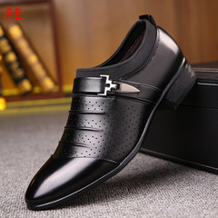 Mens Shoes Hole Shoes Man Business Casual Shoes Pointed Male Low-cut Feet Breathable Single Shoes black 39 genuine leather