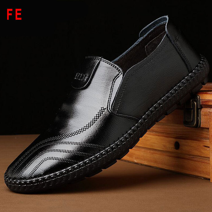 [Crazy Discount!] Men's Leather Shoes Business England Casual Shoes Office Shoes black 41 pu