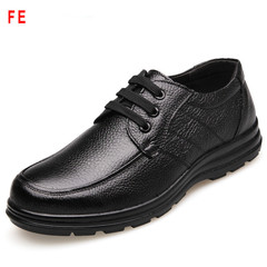 Men's Shoes Soft Bottom Soft Casual Shoes Male Business Shoes Man Big Head Leather Shoes black 39 genuine leather