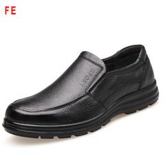 Men's Shoes Soft Bottom Soft Casual Shoes Male Business Shoes Man Big Head Leather Shoes black 39