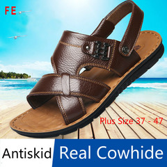 Men's Shoes Men's Leather Beach Shoes Soft Bottom Leather Sandals Men's Slippers Men's Sandals black 40