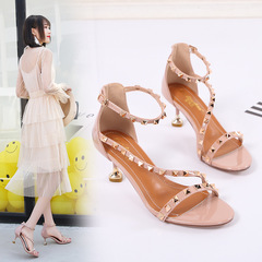 Womens Shoes Ladies High Heels Sandals Girl Stiletto Ladies Shoes Fashion Wild Sandal pink 34