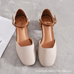 Womens Shoes Ladies Sandals Fairy Shoes Retro Shoes with Middle Thick Heel Chic Mary Jane Shoes apricot 35