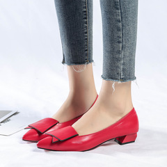 Womens Shoes Pointed Single Ladies Shoes Flat Bottom Sexy Low-heeled Shoes Women Work Shoes red 34