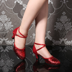 Plus Size Womens Shoes Women's Low-heeled Shoes Latin Dance Shoes Dance Shoes Ladies Dance Shoes red 34