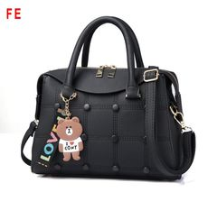 Womens Bags Fashion Barrel-Shaped Handbag With Pendant Handbags for Ladies black 28CM*13CM*20CM
