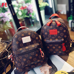 FE Womens Bags Nice Flower Backpack Lady Bag Shoulder Casual Handbag Simple Fashion Backpack red 21CM*10CM*25CM